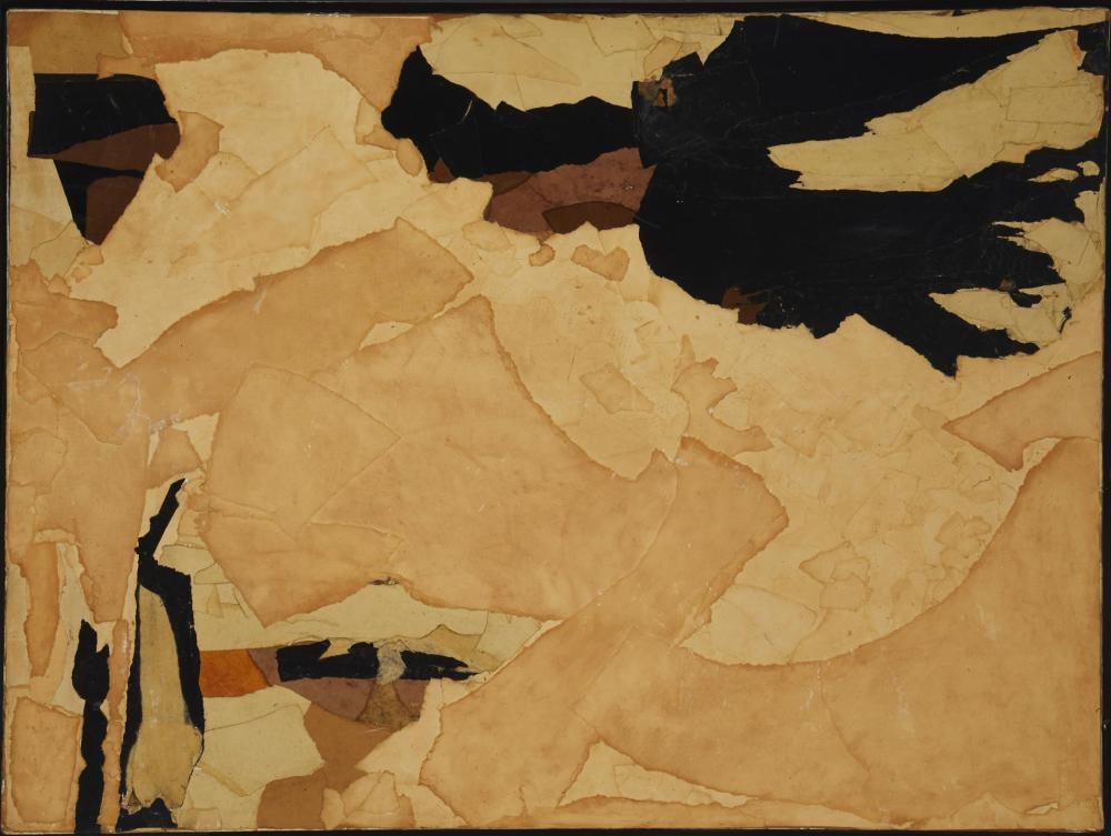 """Ruth Norman, (1909-2010, American), """"Shadows Sounds"""", Collage on canvas, 30"""" H x 40"""" W"""
