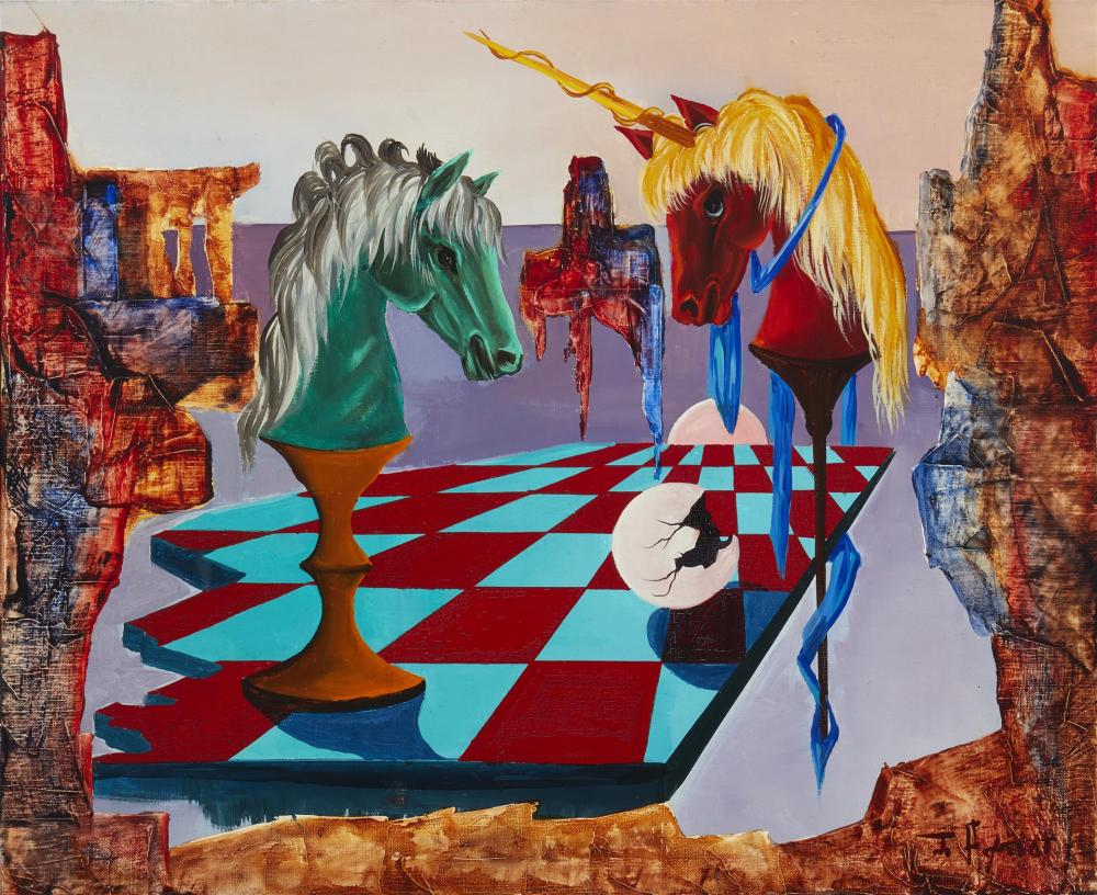 """Jean Amiot, (b. 1920, French), """"Knights of Chess"""", Oil on canvas, 19.75"""" H x 23.75"""" W"""