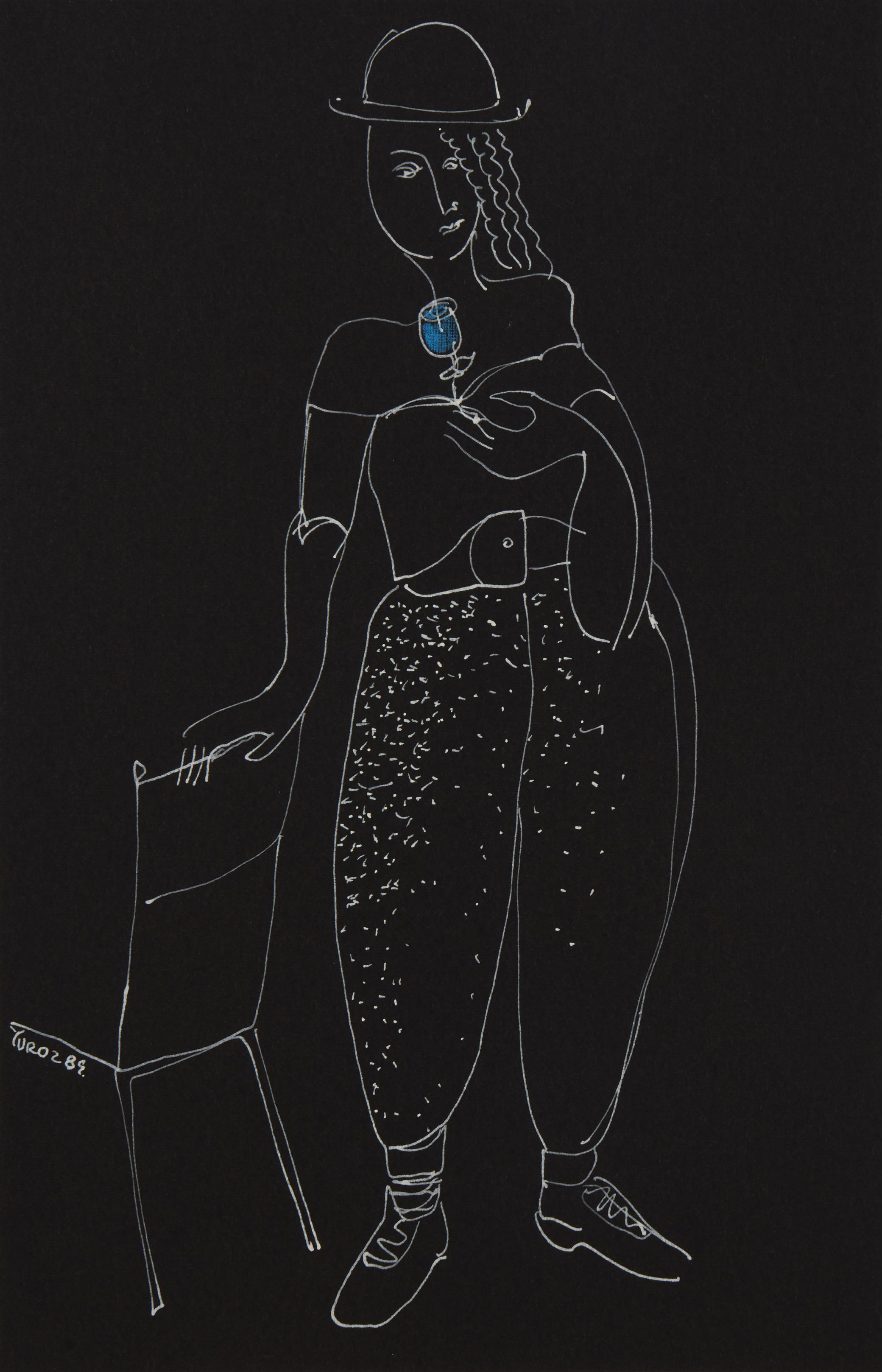 "Yuri Yuroz, (b. 1956, Armenian/American), ""The Fragrance,"" 1989, White ink and colored pencil on black paper under Plexiglas, Sight: 8."