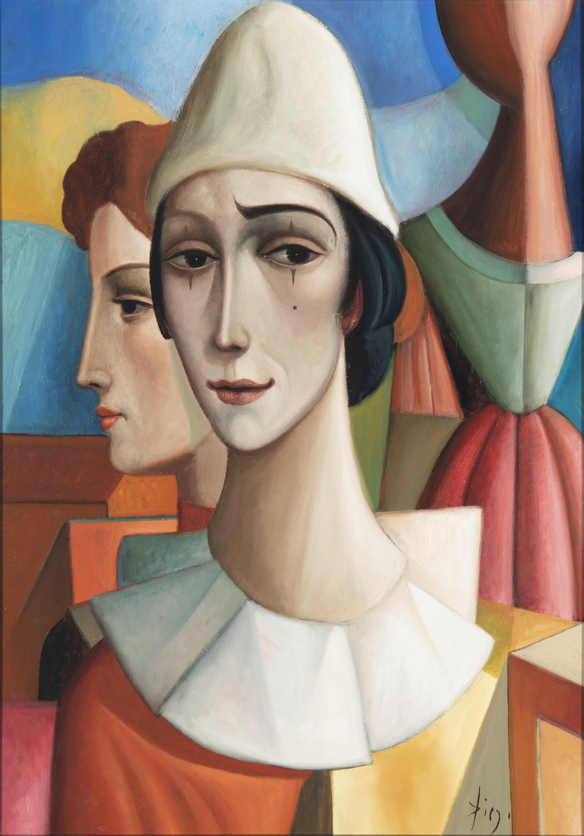 "Antonio Diego Voci, (1920-1985, Italian), ""L'Arlequin Triste,"" 1974, Oil on canvas, 27"" H x 19"" W"