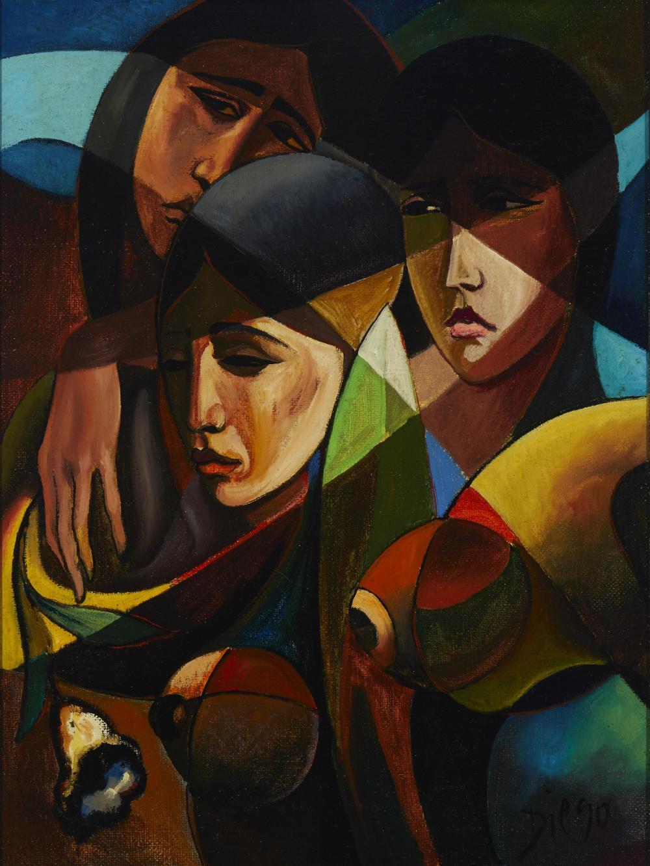 "Antonio Diego Voci, (1920-1985, Italian), ""Light"", Oil on heavy textured canvas, 31.5"" H x 23.5"" W"
