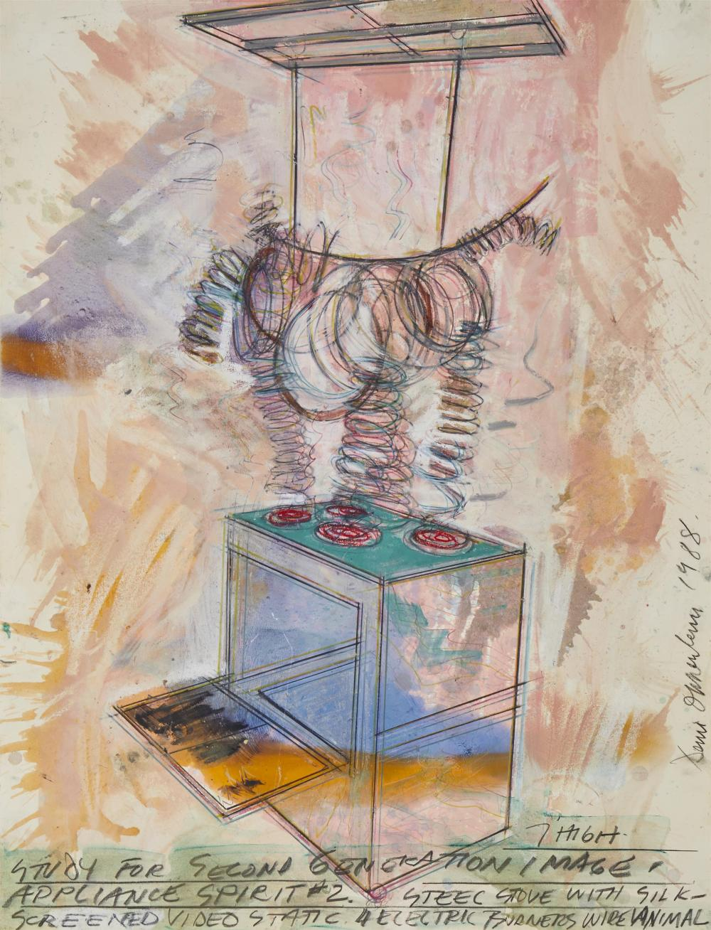 "Dennis Oppenheim, (1938-2011, American), ""Study for Second Generation Image Appliance Spirit #2,"" 1988, Mixed media on paper under Plex"