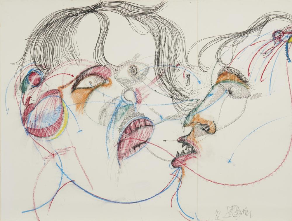 "Malcolm Poynter, (b. 1946, British), Untitled, 1982, Crayon and ink on paper laid to masonite under glass, 45.5"" H x 59.5"" W"