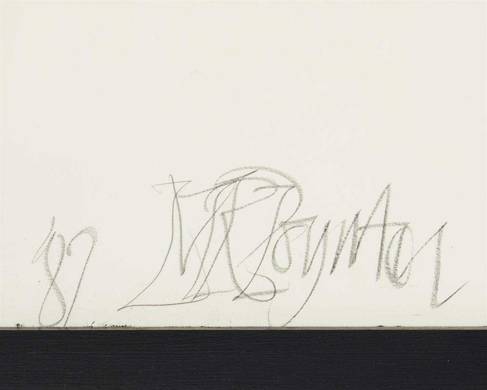 Malcolm Poynter, (b. 1946, British), Untitled, 1982, Crayon and ink on paper laid to masonite under glass, 45.5