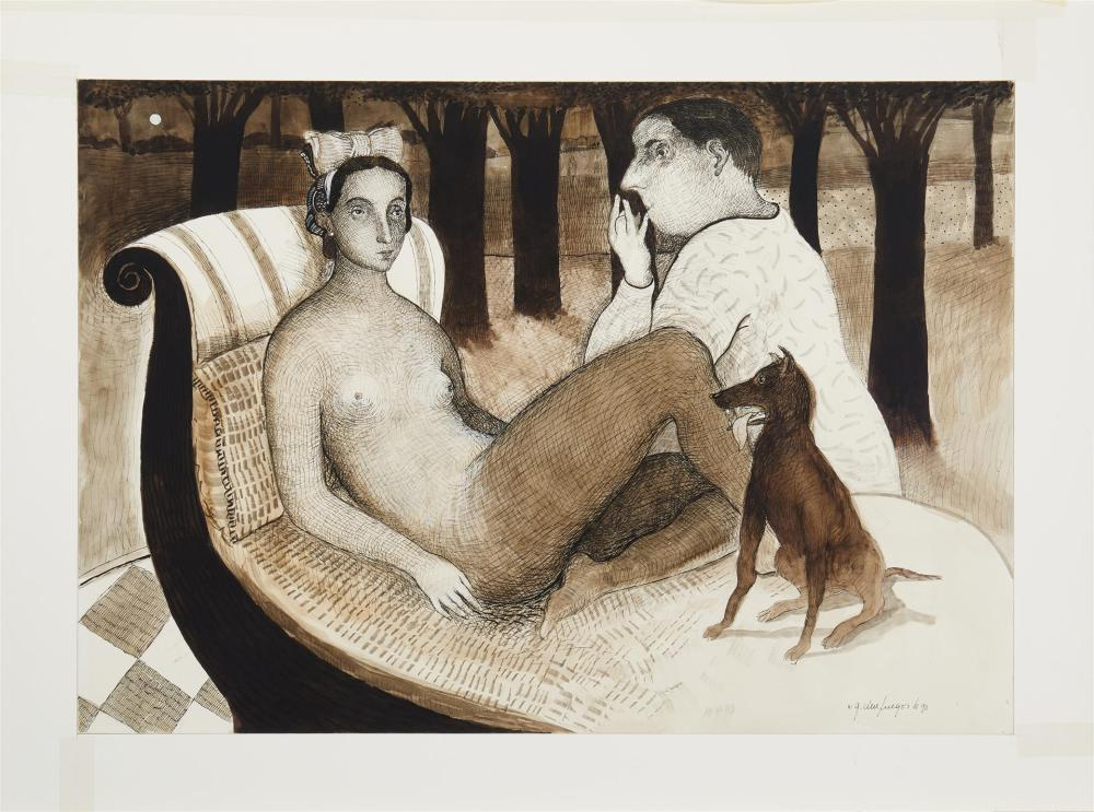 Gonzalo Cienfuegos, (b. 1949, Chilean), Figurative reclining couple with dog, 1990, Watercolor and ink on Schoellershammer card under g