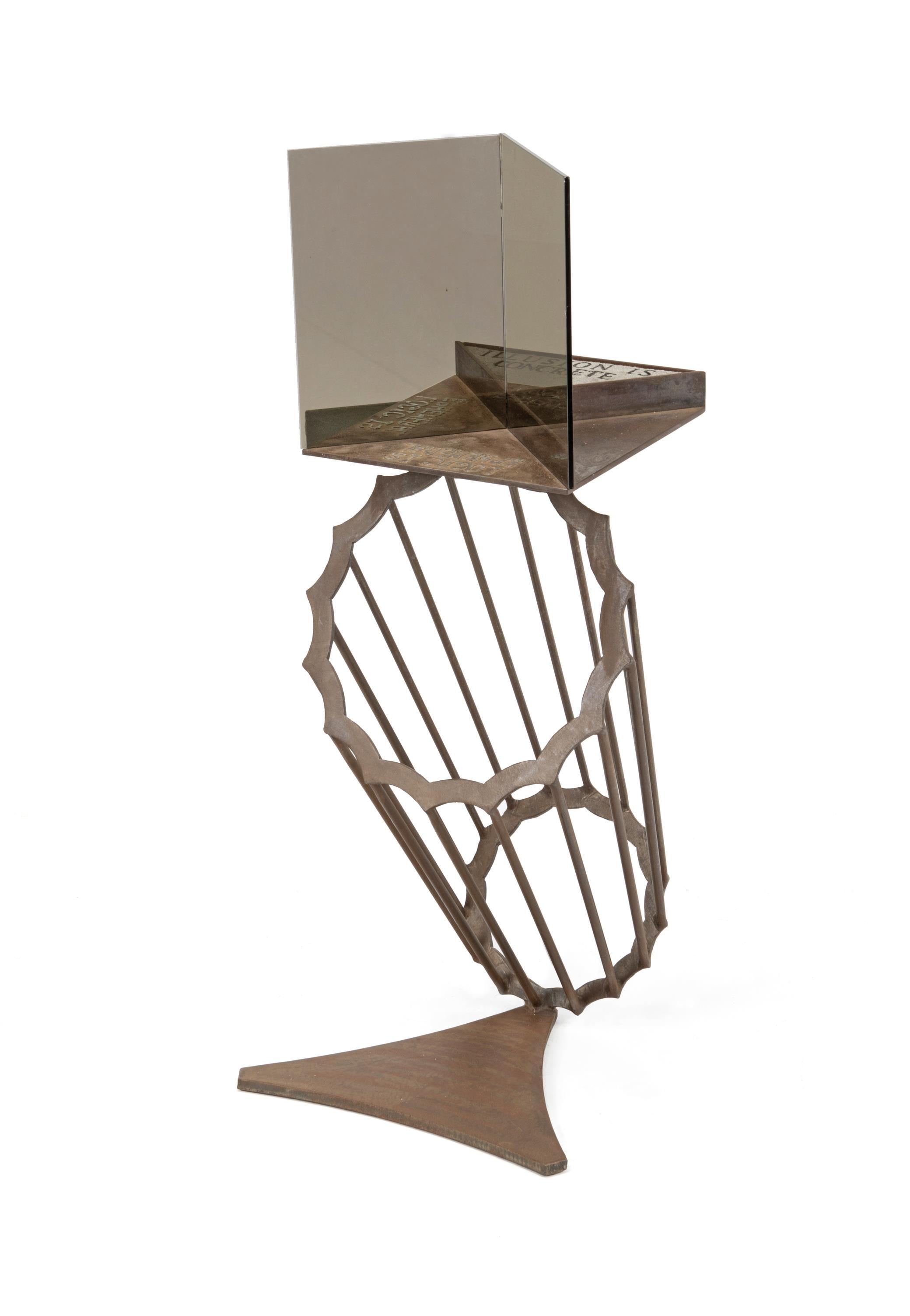 """Jeffery Laudenslager, (20th/21st Century, American), """"Logic is Ephemeral-Illusion is Concrete"""", Glass, iron, and concrete sculpture, 39"""