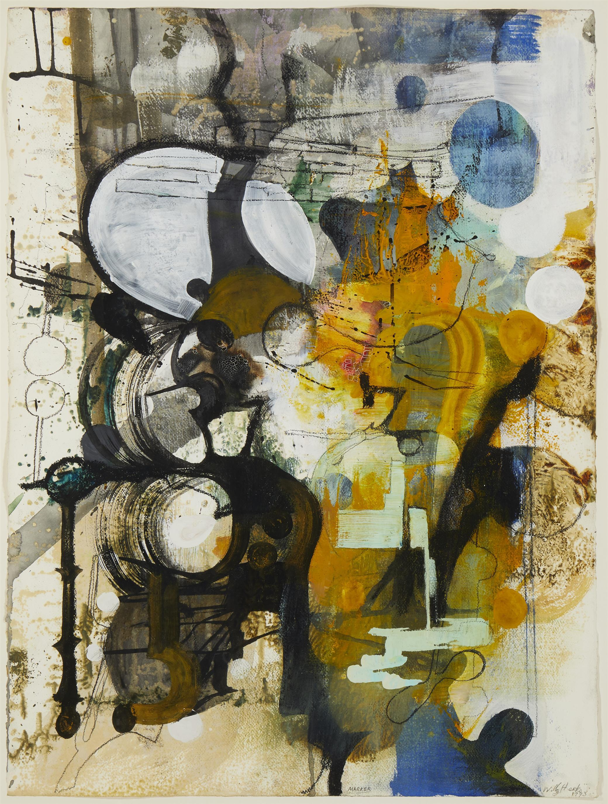"""Willy Heeks, (b. 1951, American), """"Marker,"""" 1993, Oil and acrylic on paper under glass, 29.5"""" H x 22.25"""" W"""
