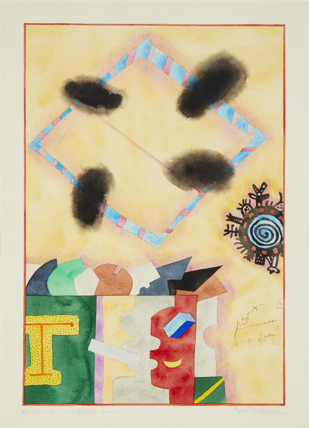 "Martin Bradley, (b. 1931, British), ""Anno VaVions Past & Prospective Dreams,"" 1990, Gouache on paper under glass, Sight: 29.75"" H x 21."