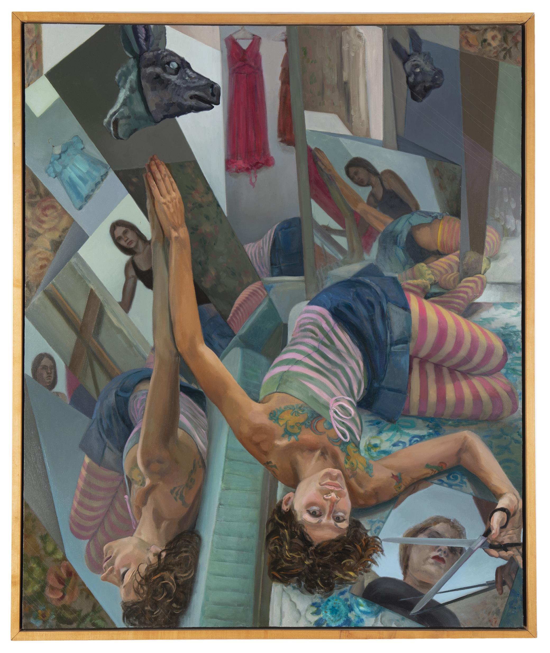 "Forrest Solis, (b. 1979, American), ""Looking-Glass Self (Tattletale Grey)"", Oil on canvas, 52"" H x 43.75"" W"