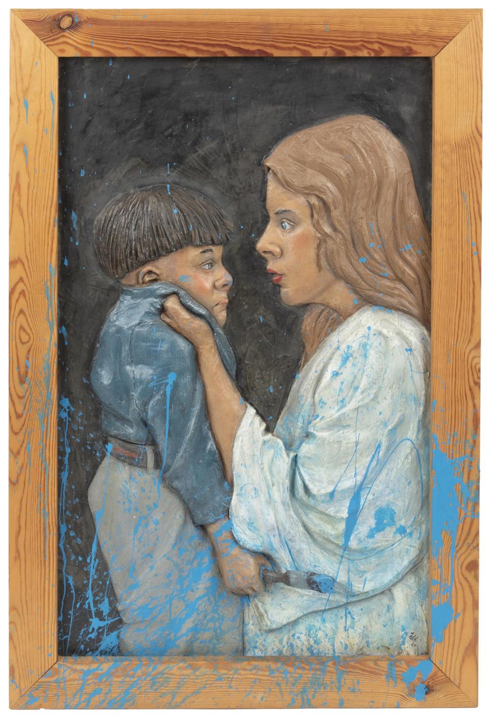 "Graham Ibbeson, (b. 1951, British), Mother scolding son, 1989, Fiberglass relief wall sculpture, 39.5"" H x 26.5"" W x 4"" D"