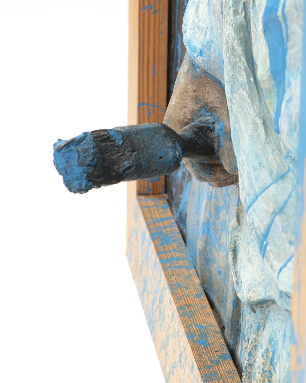 Graham Ibbeson, (b. 1951, British), Mother scolding son, 1989, Fiberglass relief wall sculpture, 39.5