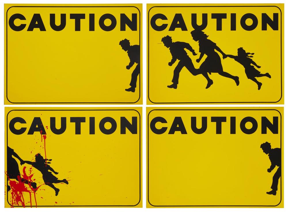 """Mario Uribe, (b. 1943, Mexican/American), """"Toll Road (Immigration Control),"""" 1992 (quadriptych), Acrylic on masonite, Each panel: 20"""" H"""