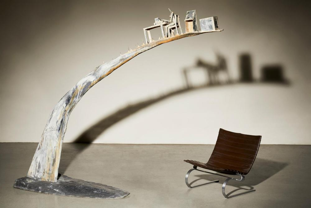 "Andrés Nagel, (b. 1947, Spanish), Kaixo Mataos III (Large Arch), 1993, Polyester, fiberglass, zinc, 90"" H x 107"" W x 29"" D"