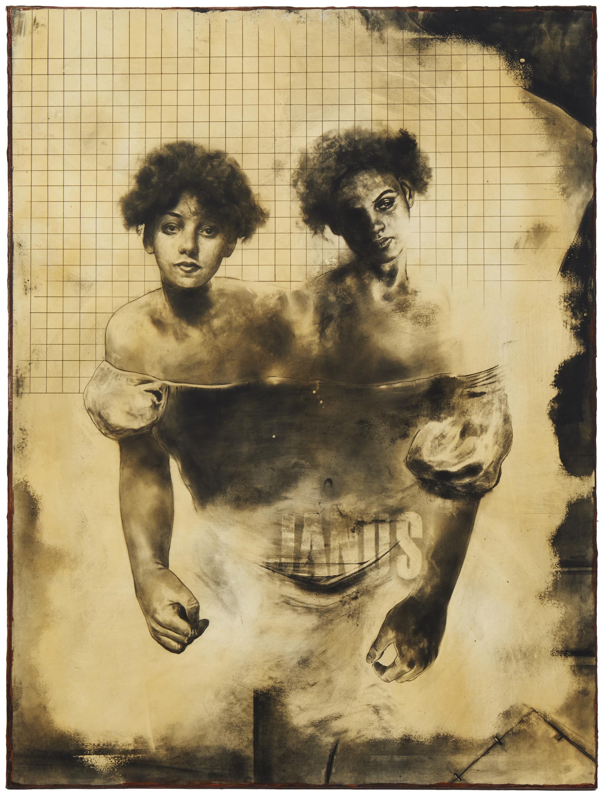 "Hugo Crosthwaite, (b. 1971, Mexican/American), ""Janus,"" 1997, Graphite on Mylar mounted on wood panel, 24.5"" H x 18.25"" W"