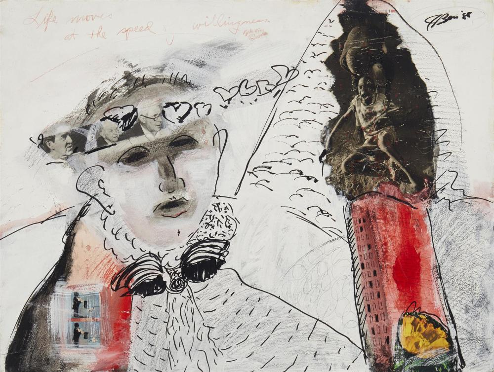 """Jim Bess, (20th Century, American), """"Life Moves at the Speed of Willingness,"""" 1988, Watercolor, ink and collage on Arches paper, 22.75"""""""