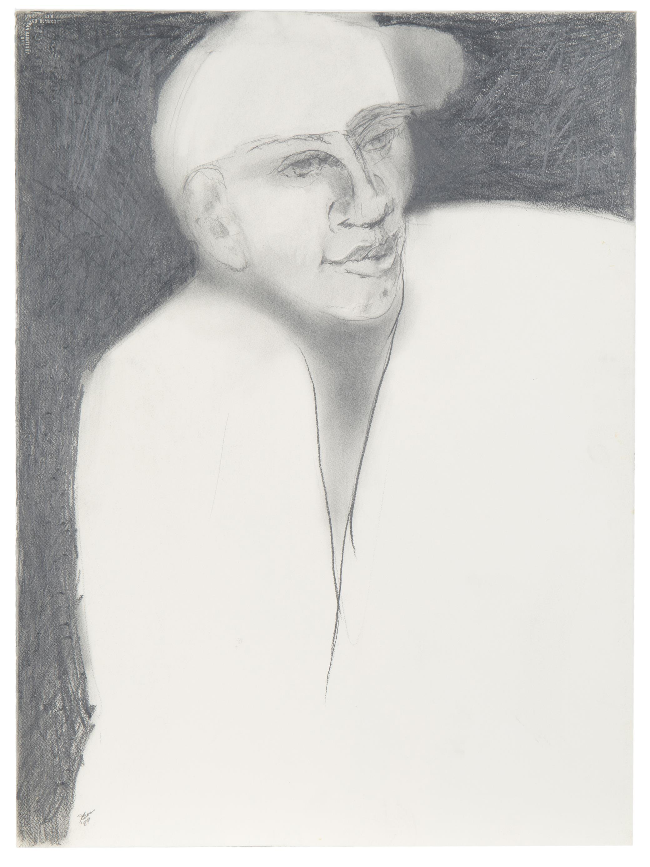 """Jim Bess, (20th Century, American), """"Male on Black,"""" 1989, Charcoal on Arches paper, 30"""" H x 22"""" W"""