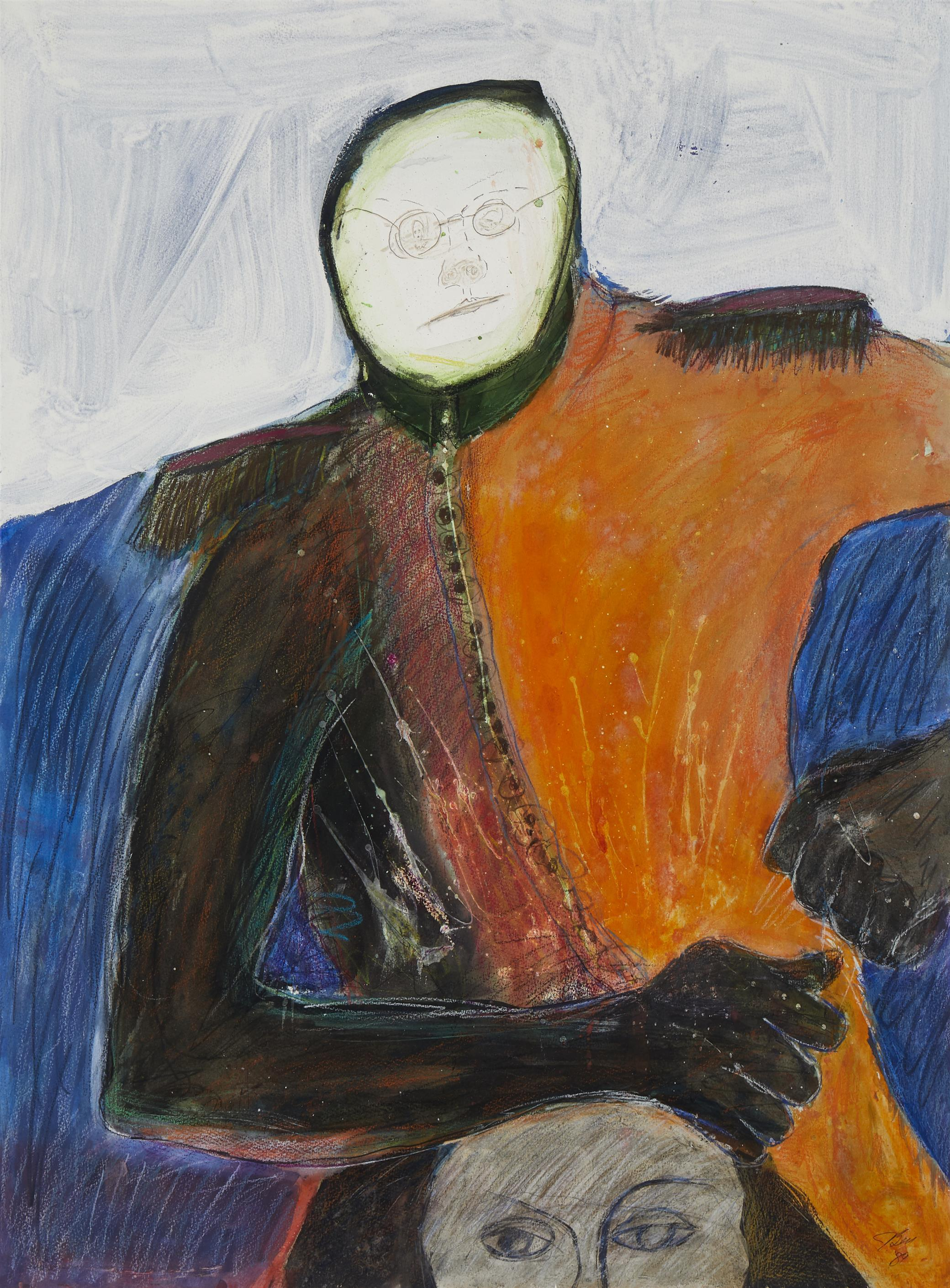 """Jim Bess, (20th Century, American), """"Hooded Orange Man on Head,"""" 1989, Gouache and ink on paper, 30"""" H x 22.25"""" W"""