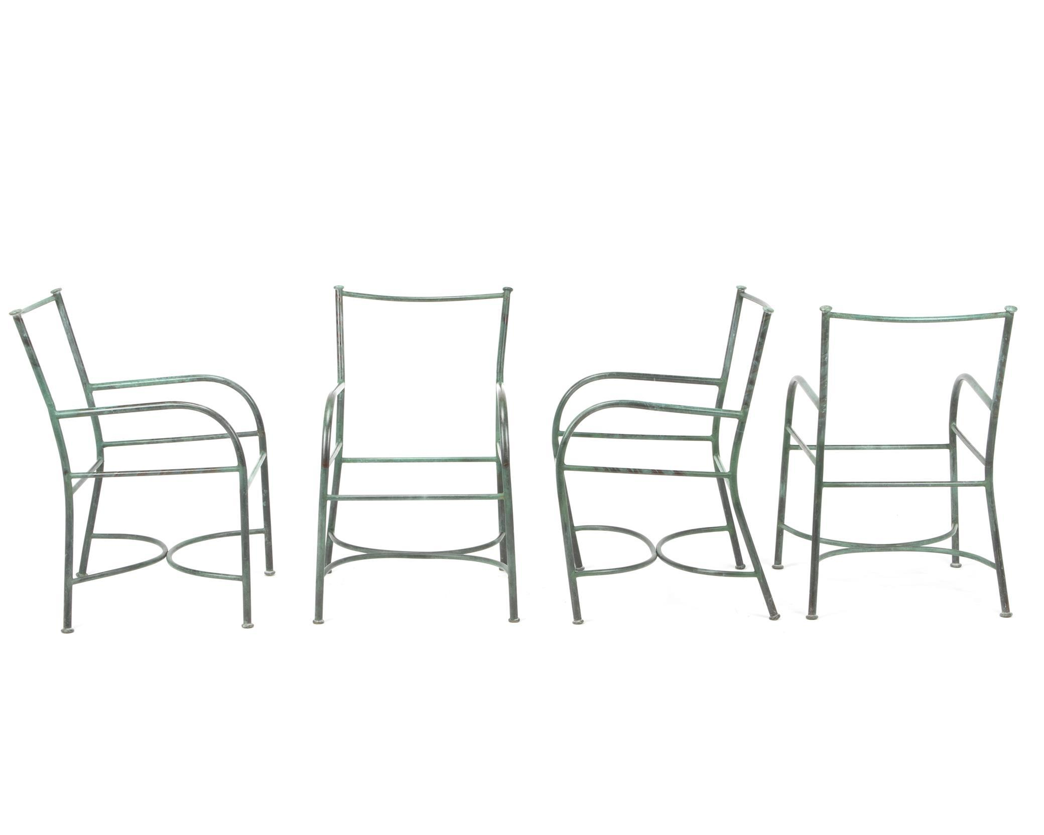 "Robert Lewis, (fl. 20th/21st Century, American), Four armchair frames, Copper, Each approximately: 33.5"" H x 19"" W x 24"" D"