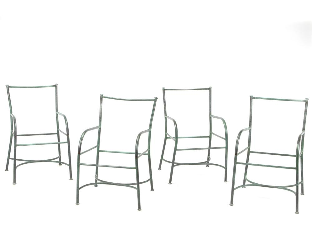 Robert Lewis, (fl. 20th/21st Century, American), Four armchair frames, Copper, Each approximately: 33.5