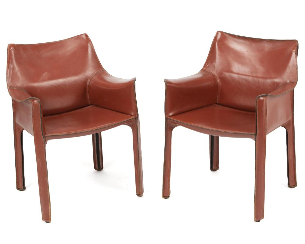 "Mario Bellini, (b. 1935, Italian), ""413 Cab"" armchairs, 2 pieces, Leather with steel frame, Each approximately: 30.5"" H x 20.5"" W x 20"""