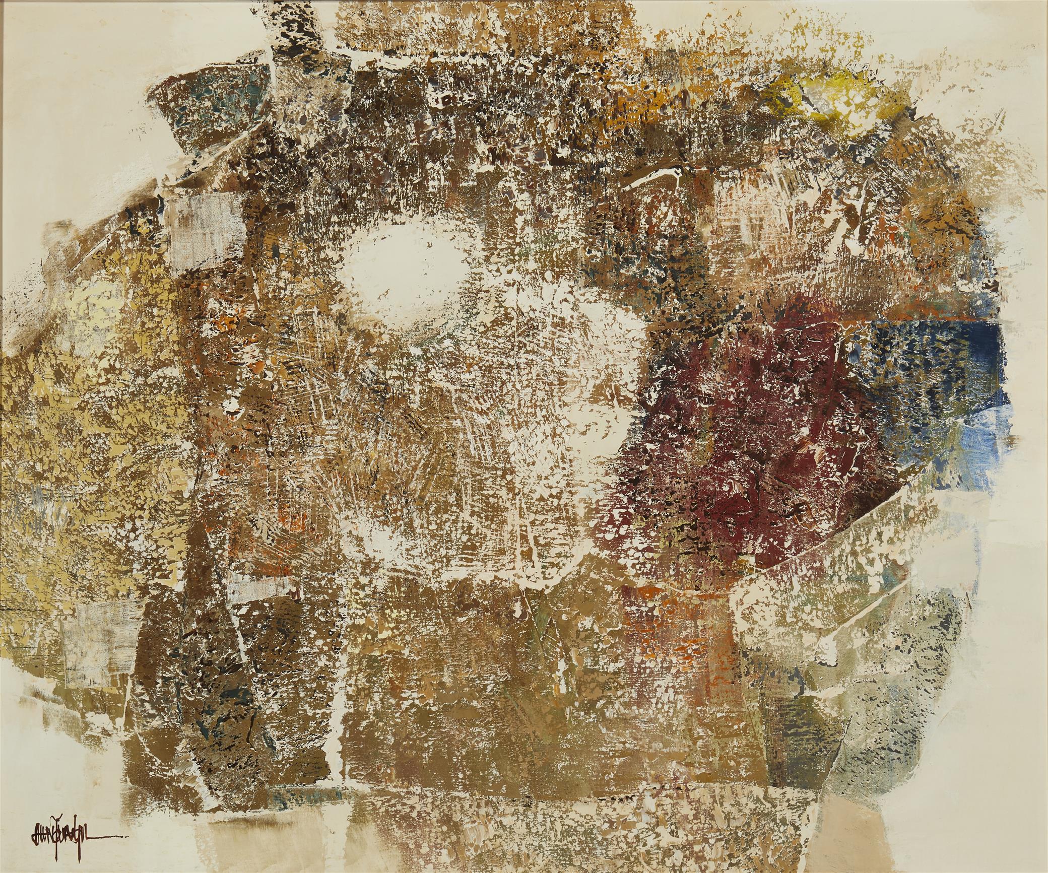 "Young Il Ahn, (b. 1935, Korean/American), ""Jar,"" 1969, Oil on canvas, 25"" H x 30"" W"