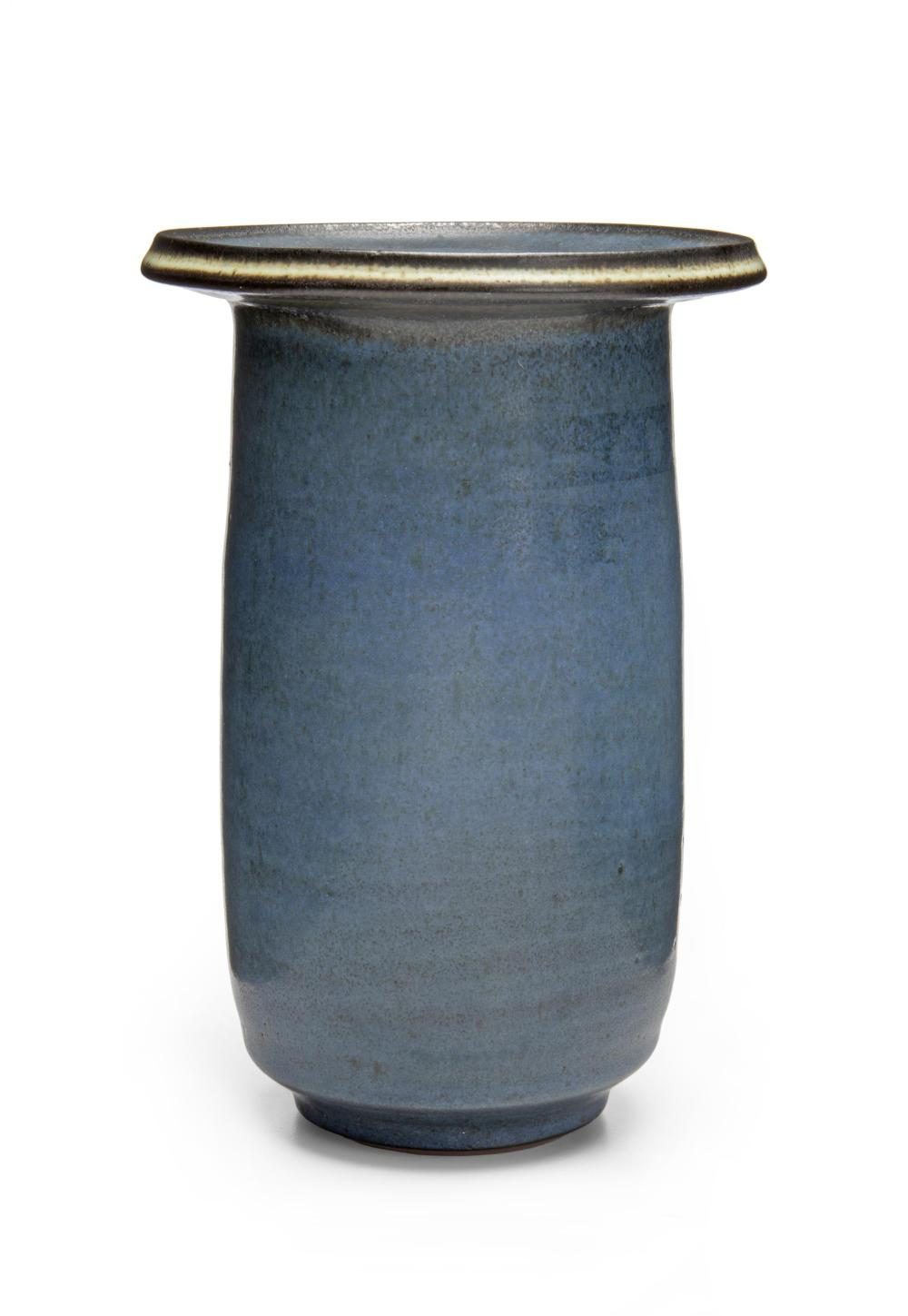 "Harrison McIntosh, (1914-2016, American), Tall cylindrical vase, Ceramic with blue engobe, 8"" H x 5.5"" Dia."