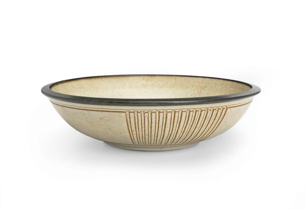 "Harrison McIntosh, (1914-2016, American), Shallow center bowl, Ceramic with off-white engobe, 4"" H x 14.5"" Dia."