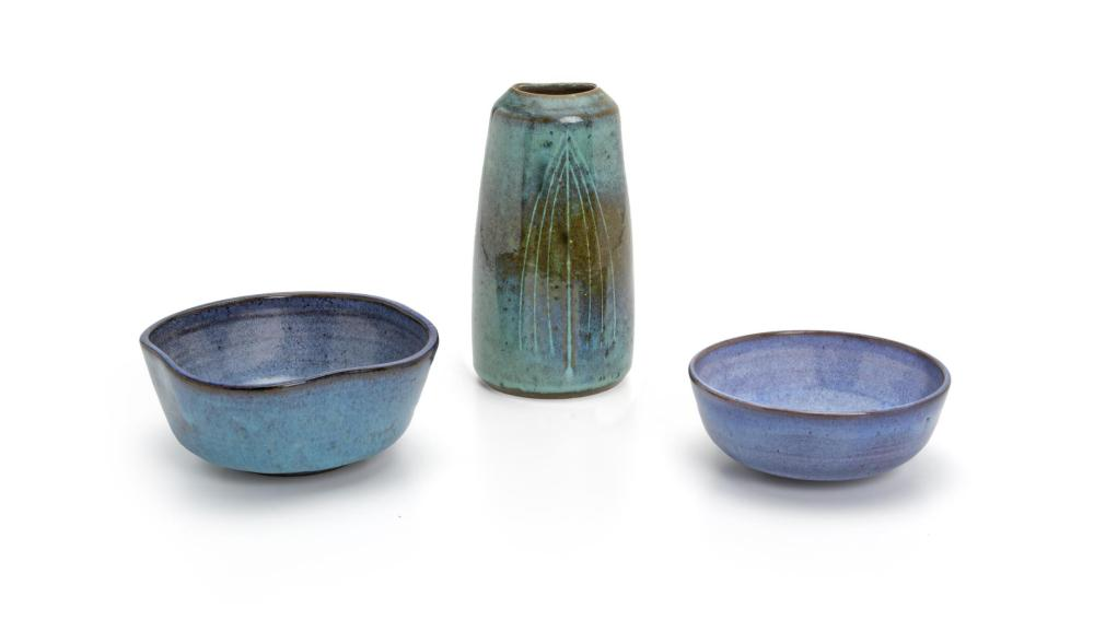 """Harrison McIntosh, (1914-2016, American), Two low bowls and one vase, 3 pieces, Ceramic with blue engobe, Vase: 7"""" H x 3.75"""" W x 3.5"""" D"""