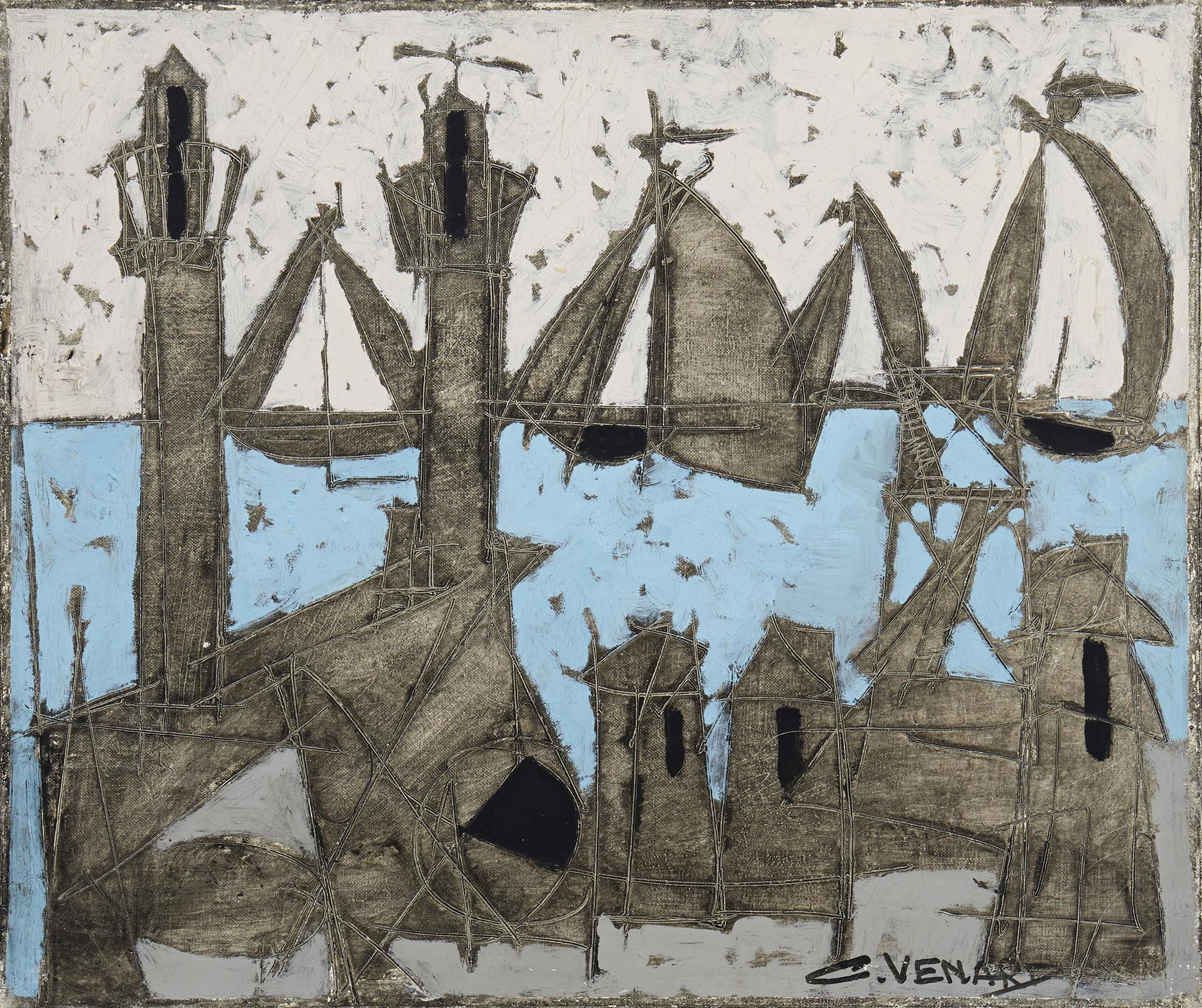 """Claude Venard, (1913-1999, French), Abstract harbor scene, Oil on paper laid to canvas, 18"""" H x 21.5"""" W"""