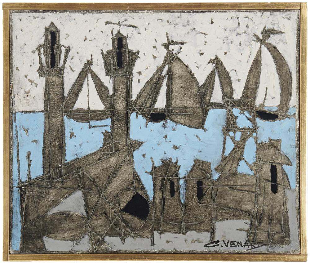 Claude Venard, (1913-1999, French), Abstract harbor scene, Oil on paper laid to canvas, 18
