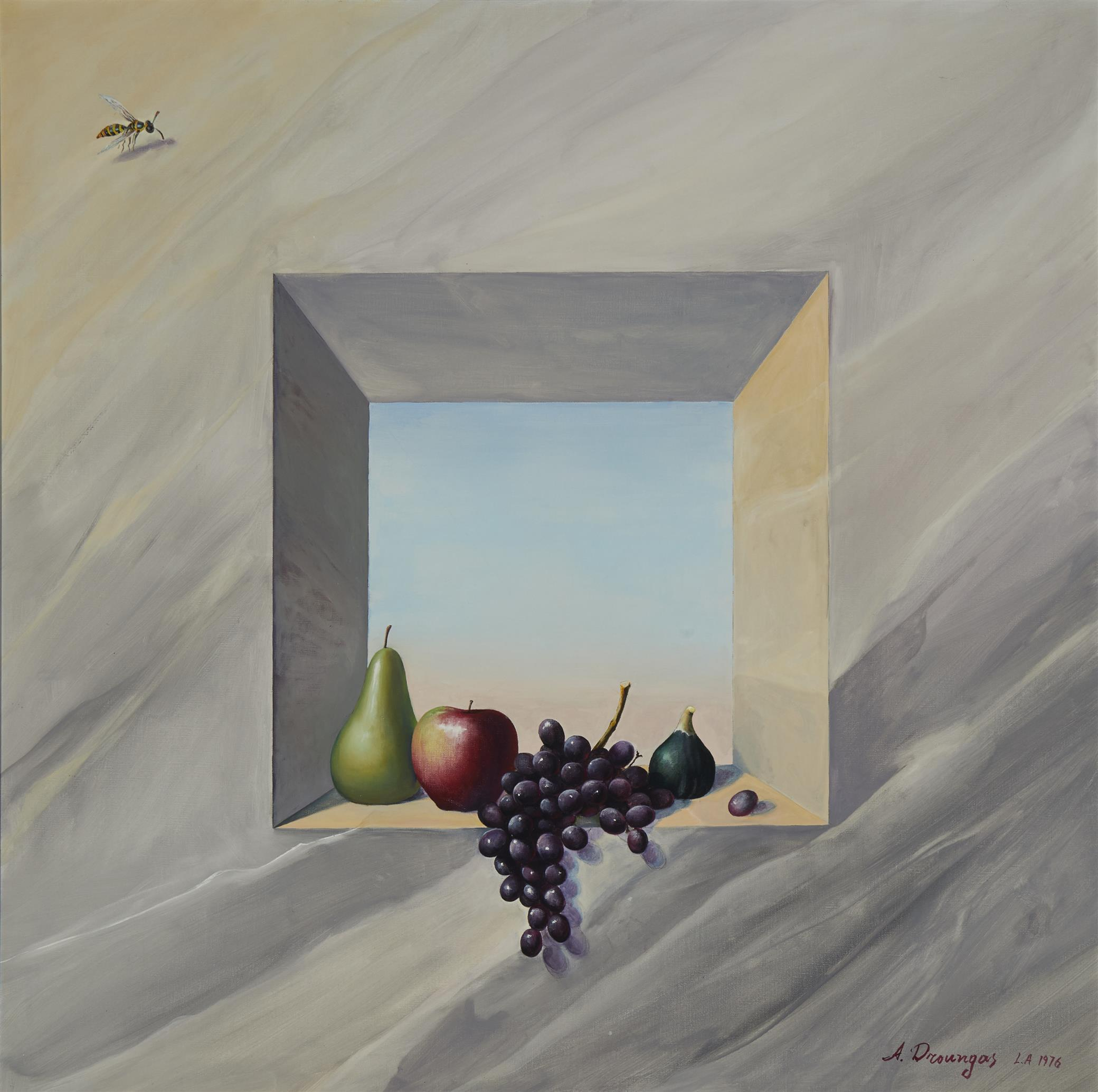 """Achilleas Droungas, (b. 1940, Greek), Realistic still life with fruit in a window, 1976, Oil on canvas, 34"""" H x 34"""" W"""