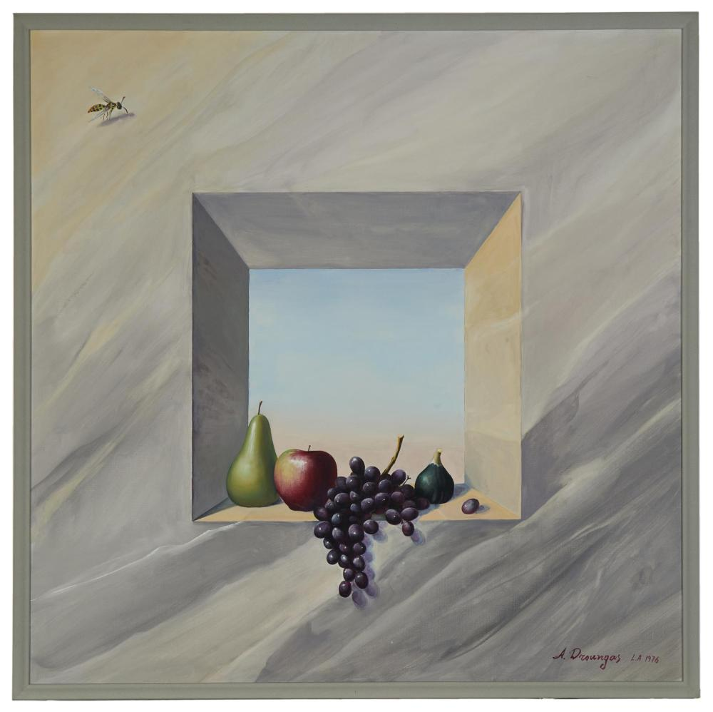 Achilleas Droungas, (b. 1940, Greek), Realistic still life with fruit in a window, 1976, Oil on canvas, 34