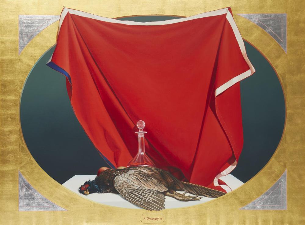 "Achilleas Droungas, (b. 1940, Greek), Realistic still life of a game bird, 1986, Oil on canvas, 35"" H x 47"" W"