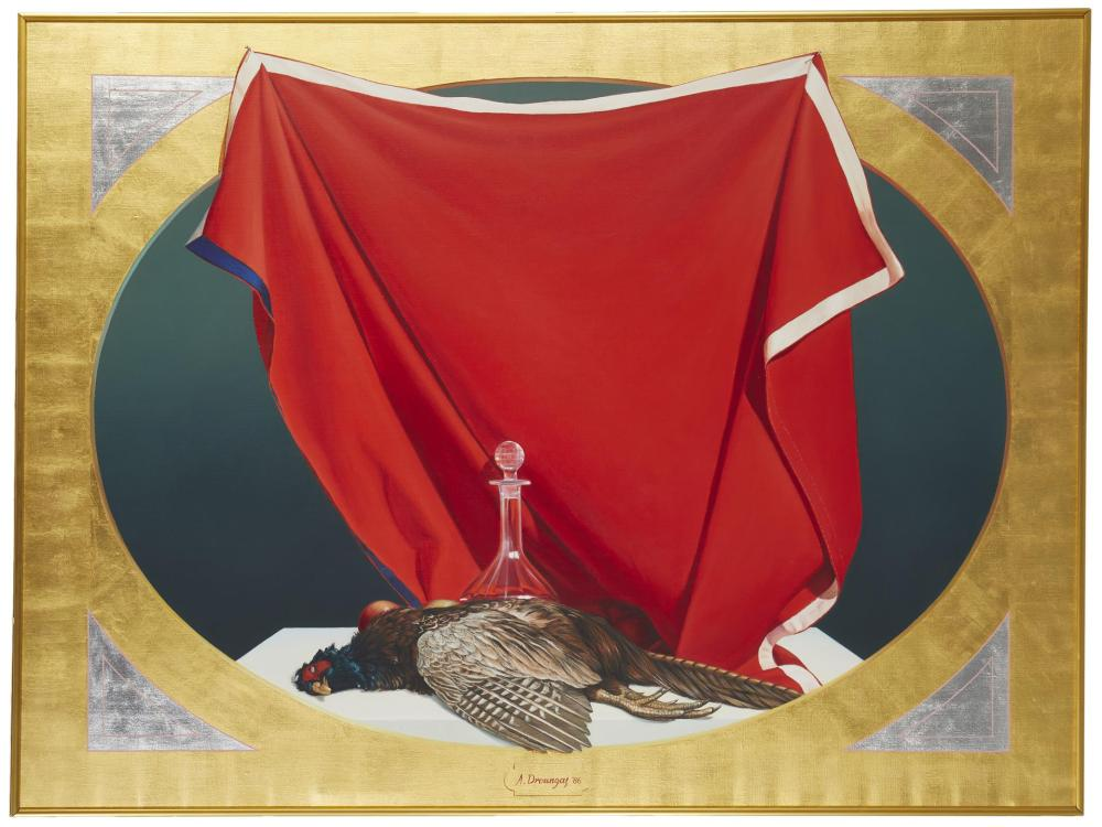 Achilleas Droungas, (b. 1940, Greek), Realistic still life of a game bird, 1986, Oil on canvas, 35