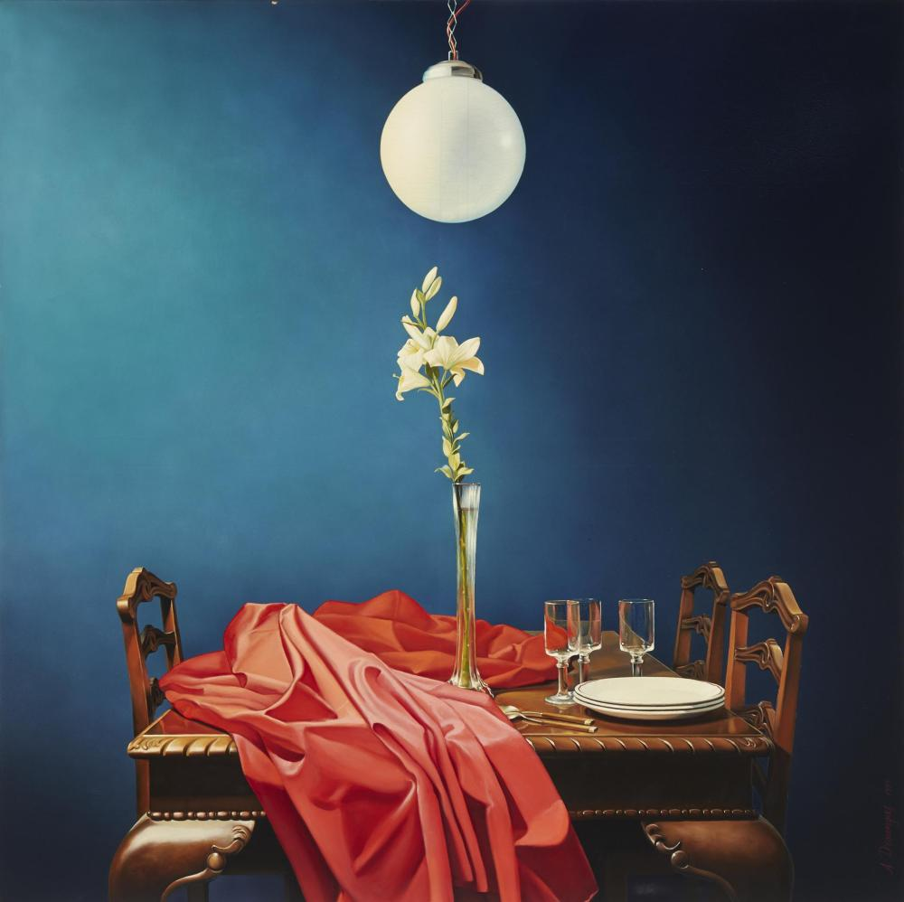 """Achilleas Droungas, (b. 1940, Greek), Realistic still life of table setting, 1979, Oil on canvas, 59"""" H x 59"""" W"""