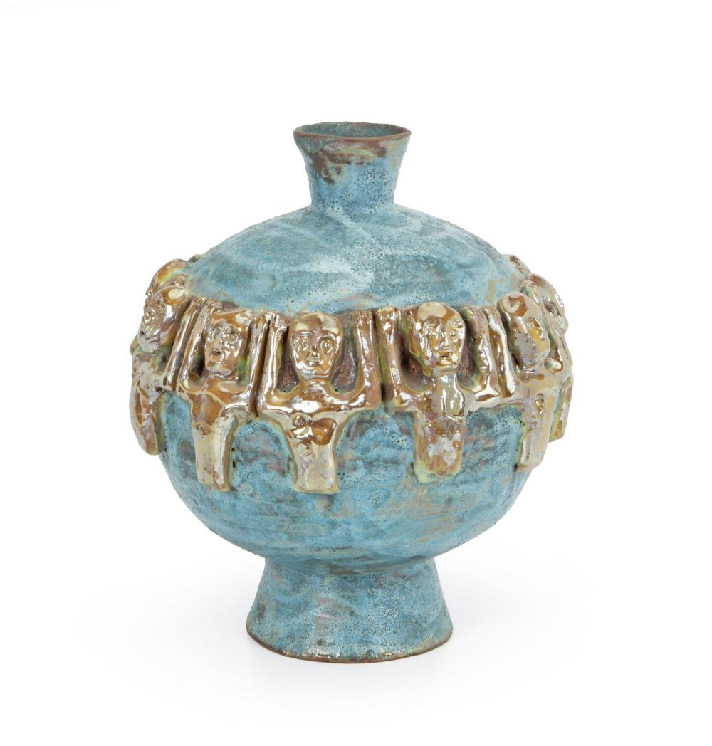 "Beatrice Wood, (1893-1998, American), Figural vase, Glazed ceramic with applied iridescent figures, 10.5"" H"