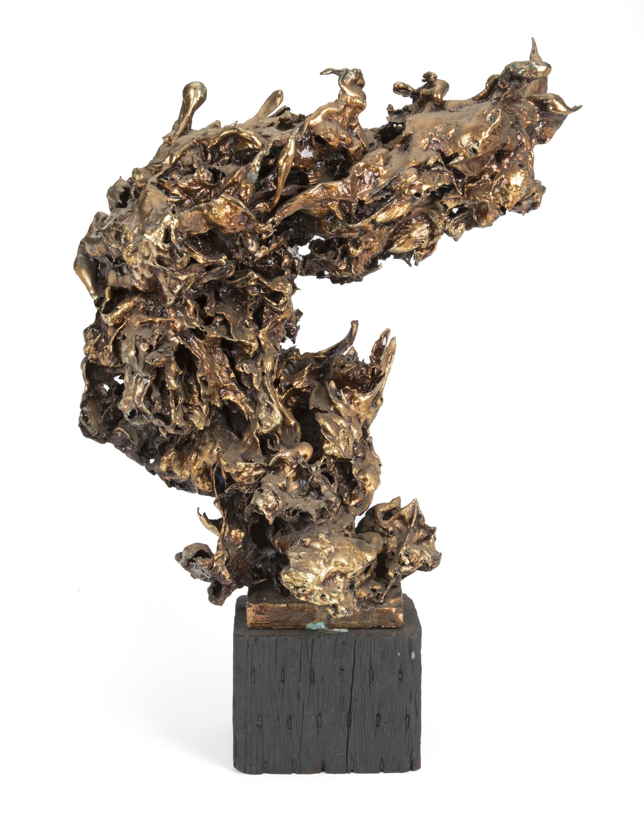 "Sascha Brastoff, (1918-1993, American), Freeform sculpture, Mixed media on wood base, Overall: 30"" H x 20.5"" W x 12"" D; Sculpture: 24"""