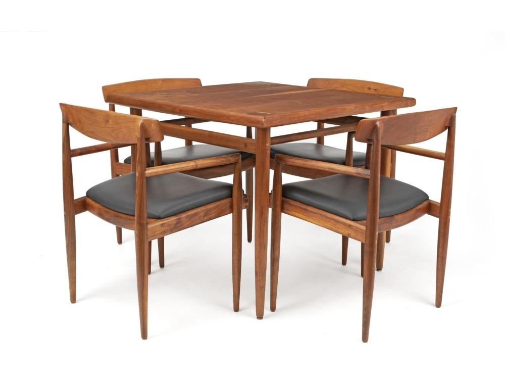 Sam Maloof, (1916-2009, American), Game table and low-back chairs, 5 pieces, Walnut and black leather, Table: 29.625
