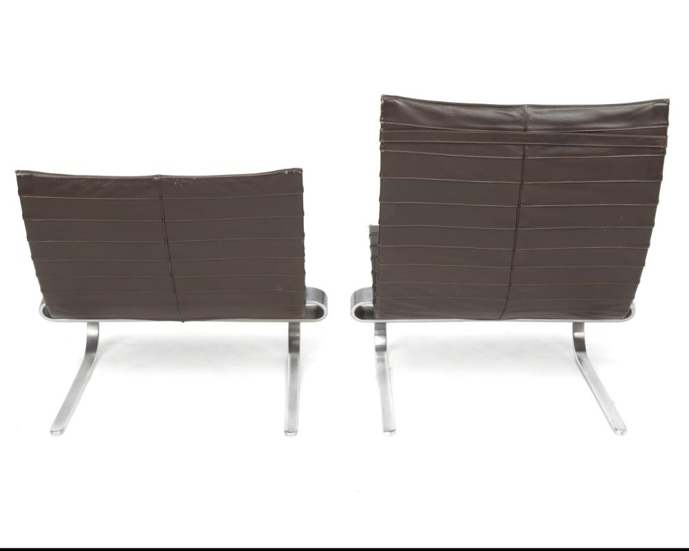 Poul Kjaerholm, (1929-1980, Danish), A high back PK20 lounge chair and a low back PK20 lounge chair, 2 pieces, Chromed metal and sienna