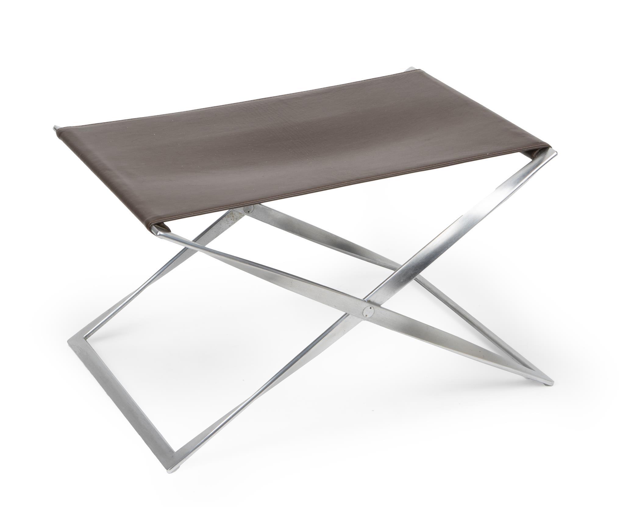 "Poul Kjaerholm, (1929-1980, Danish), PK91 folding footstool, Chromed metal and sienna brown leather, 14.325"" H x 23.75"" W x 17.75"" D"