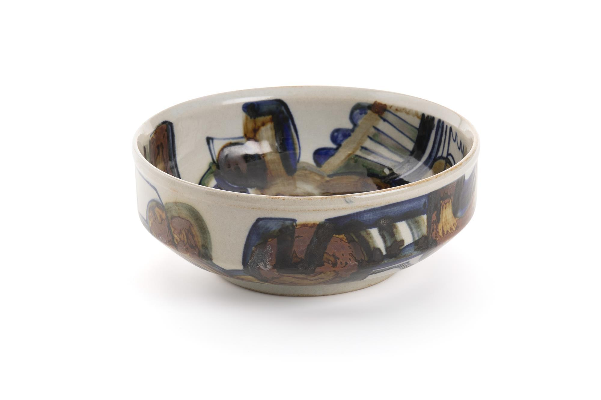 "Jim Kaneko, (1923-1999, American), Low center bowl, 1973, Glazed ceramic, 3"" H x 7.75"" Dia."