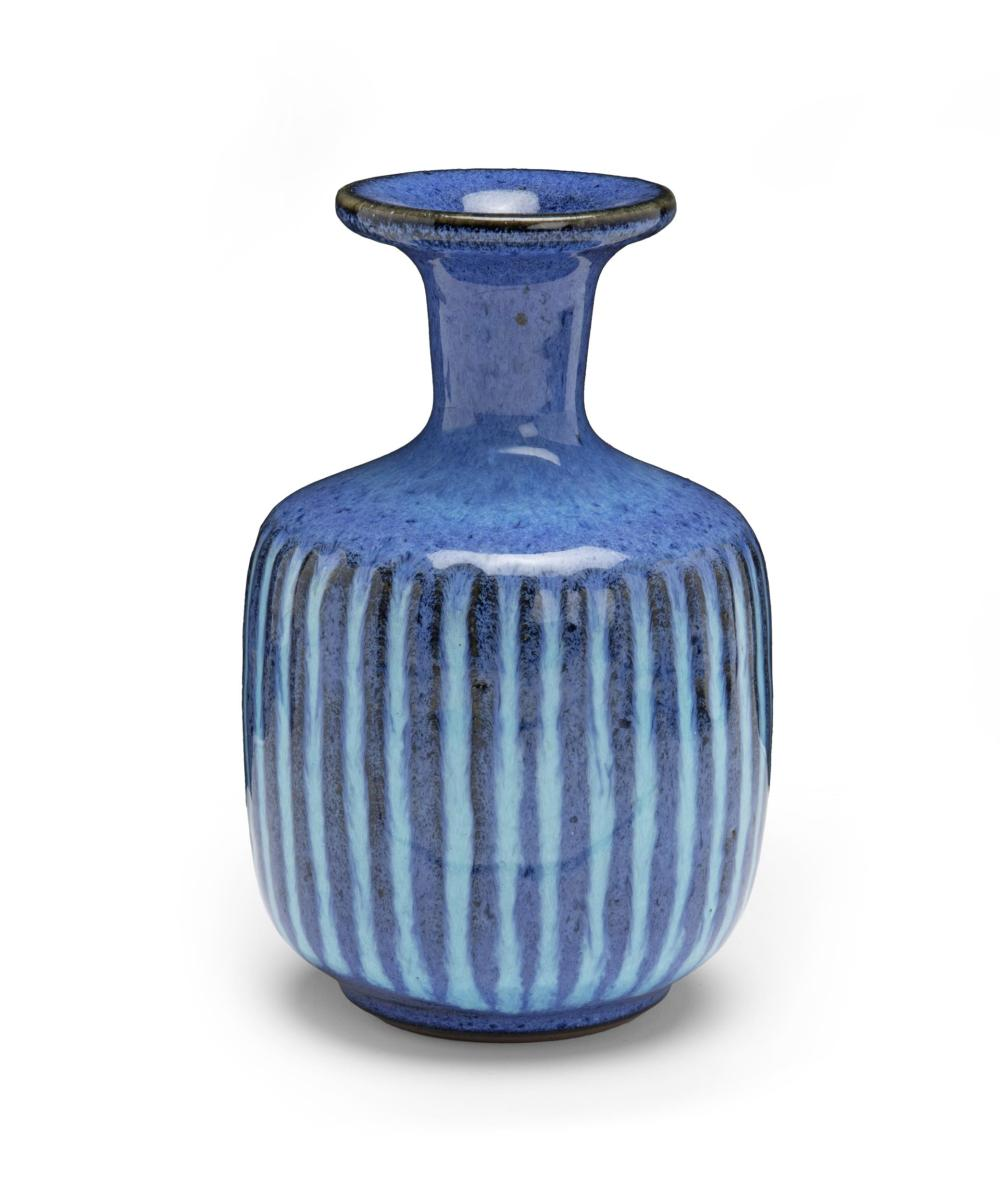 "Harrison McIntosh, (1914-2016, American), Vase with shouldered and rimmed body, Ceramic with blue ribbed engobe, 5.25"" H x 3.125"" Dia."