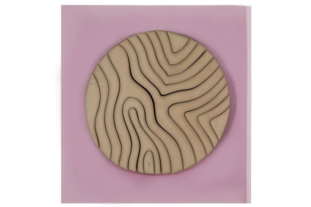 "Anthony Villis, (20th Century, American), Untitled, 1977, Clay wall sculpture affixed to lavender Lucite panel, 24"" H x 23"" W x 1.5"" D"