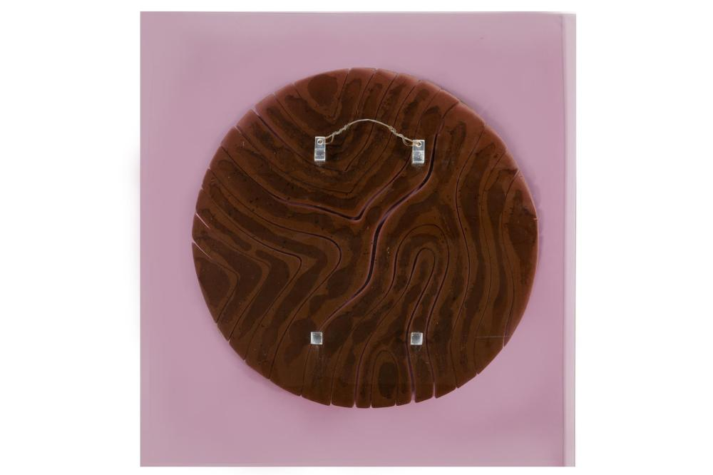 Anthony Villis, (20th Century, American), Untitled, 1977, Clay wall sculpture affixed to lavender Lucite panel, 24