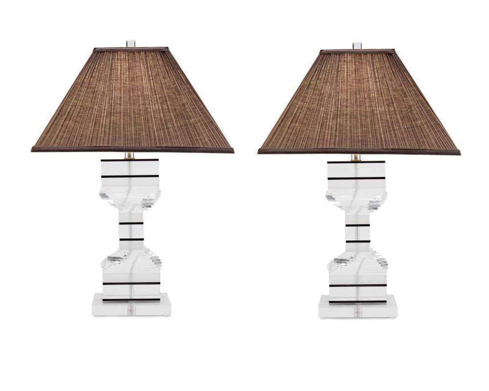 Karl Springer, (1931-1991, German/American), A pair of spiral Lucite table lamps, Rectangular pleated brown linen shade on a clear, fro