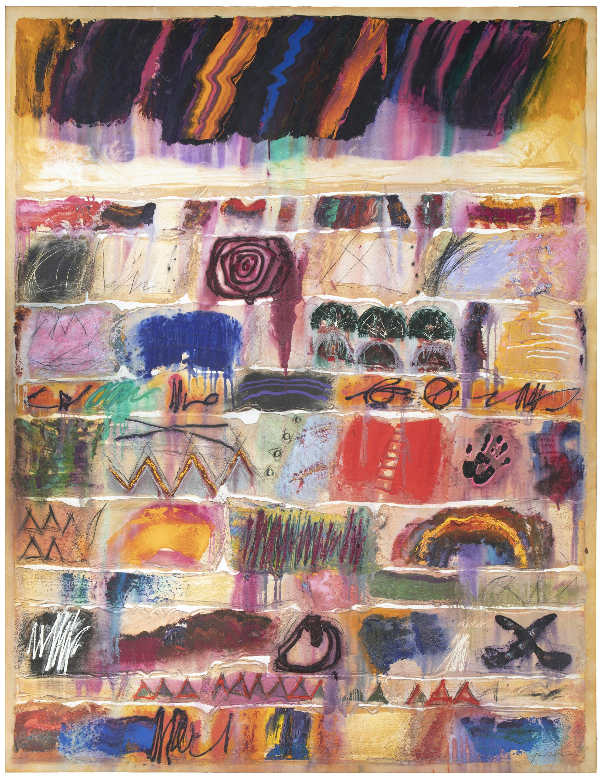 """Dick Jemison, (b. 1942, American), """"Dreamwork V,"""" 1988, Mixed media and sand on canvas, 108"""" H x 84"""" W"""