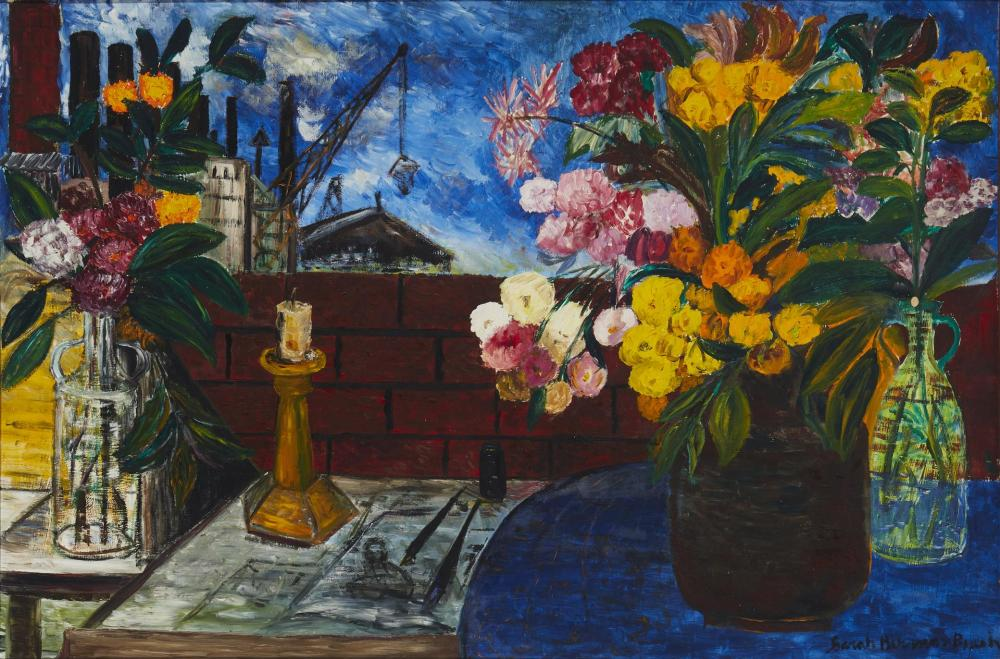 "Sara Berman Beach, (1890-1978, American), Outdoor still life, Oil on masonite, 25.5"" H x 38.5"" W"