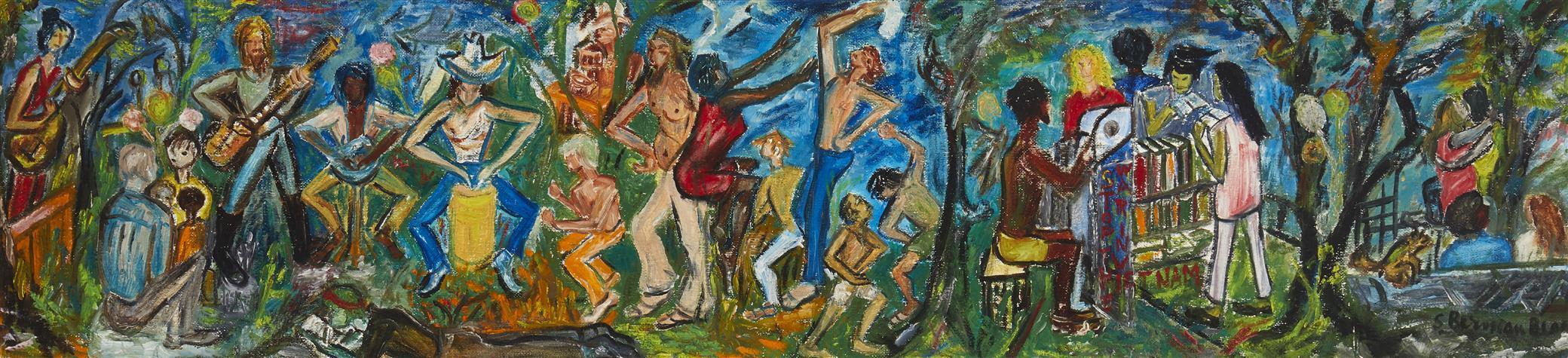 "Sara Berman Beach, (1890-1978, American), ""Stop the War in Vietnam"", Oil on canvasboard, 11"" H x 47.25"" W"