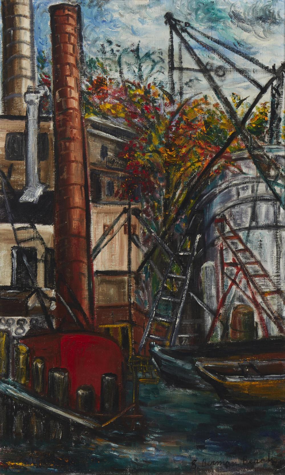 "Sara Berman Beach, (1890-1978, American), Boat yard with smoke stack, Oil on canvas, 26"" H x 16"" W"