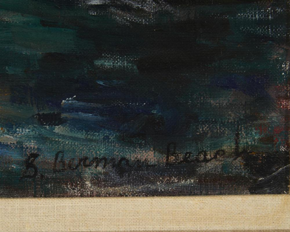 Sara Berman Beach, (1890-1978, American), Boat yard with smoke stack, Oil on canvas, 26